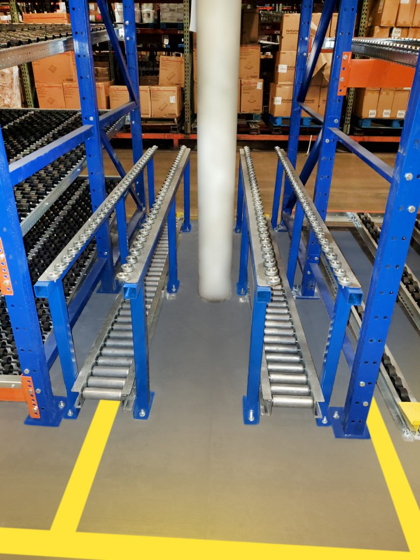 Vertical pallet return lanes for case pick-pallet flow - Mallard Manufacturing