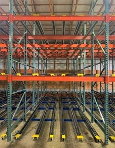 Push-Back Pallet Flow Rack - Mallard Manufacturing