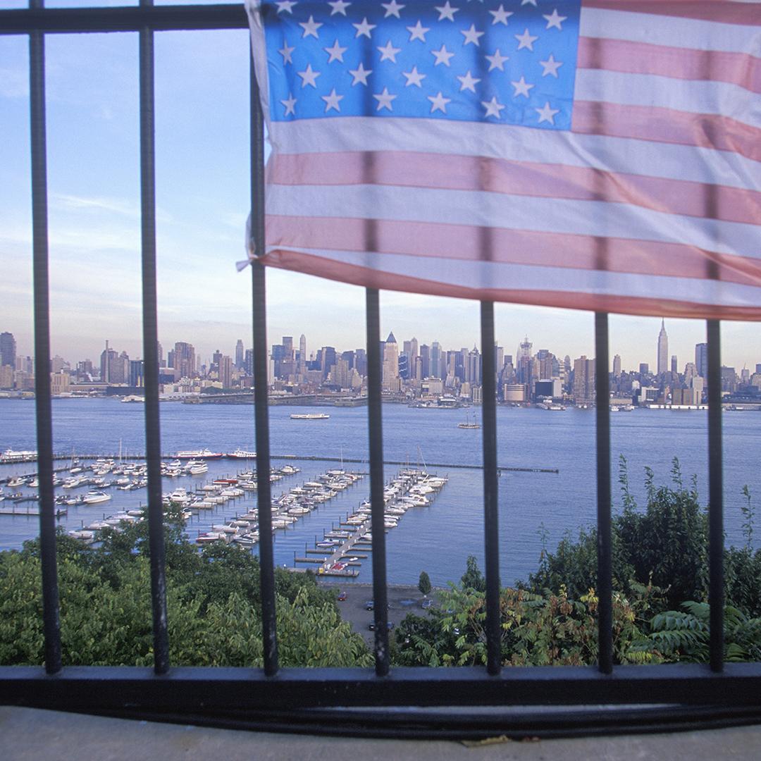 9/11 memorial on rooftop looking over New York City.