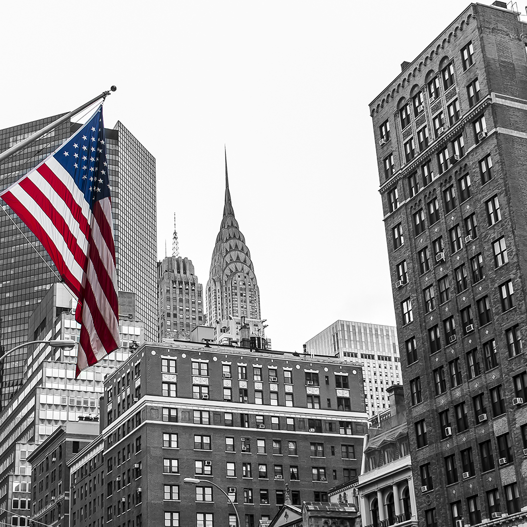 Colored American flag against a black and white New York City skyline.