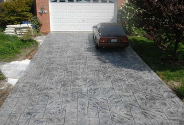 Stamped and stained concrete driveway.