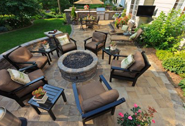 Earth-tone stained concrete patio