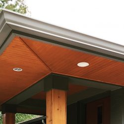 The custom builders at Masterworks Contracting in Metro Detroit built this gorgeous soffit with a stunning wooden look.