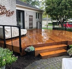 The construction specialist at Masterworks Contracting in Metro Detroit built this dazzling outside patio.