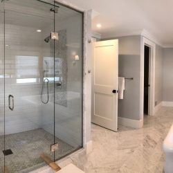 View of the shower in the master bathroom built by the construction contractors at Masterworks Contracting in Metro Detroit