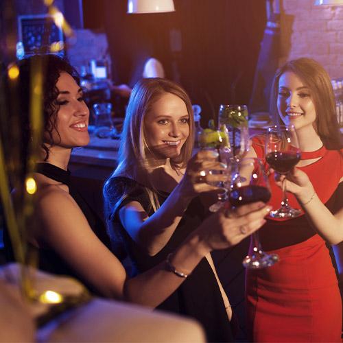 Girls at Club drinking