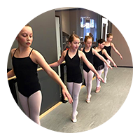 Image of several ballet dancers in a row