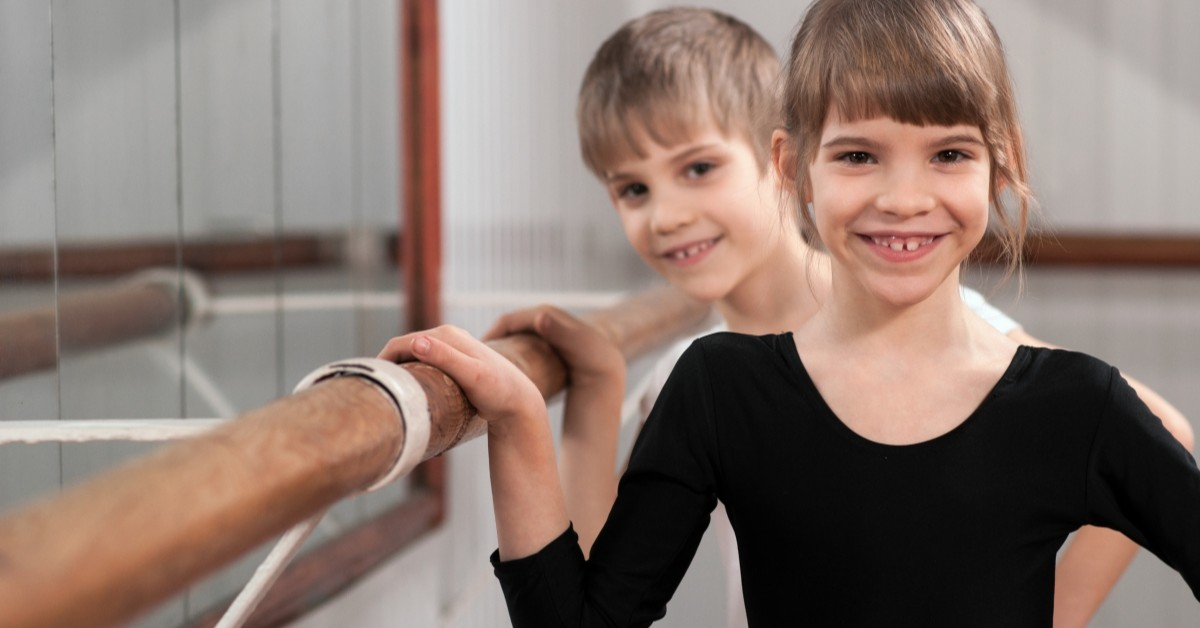 Image Of Girl And Boy At A Ballet Station