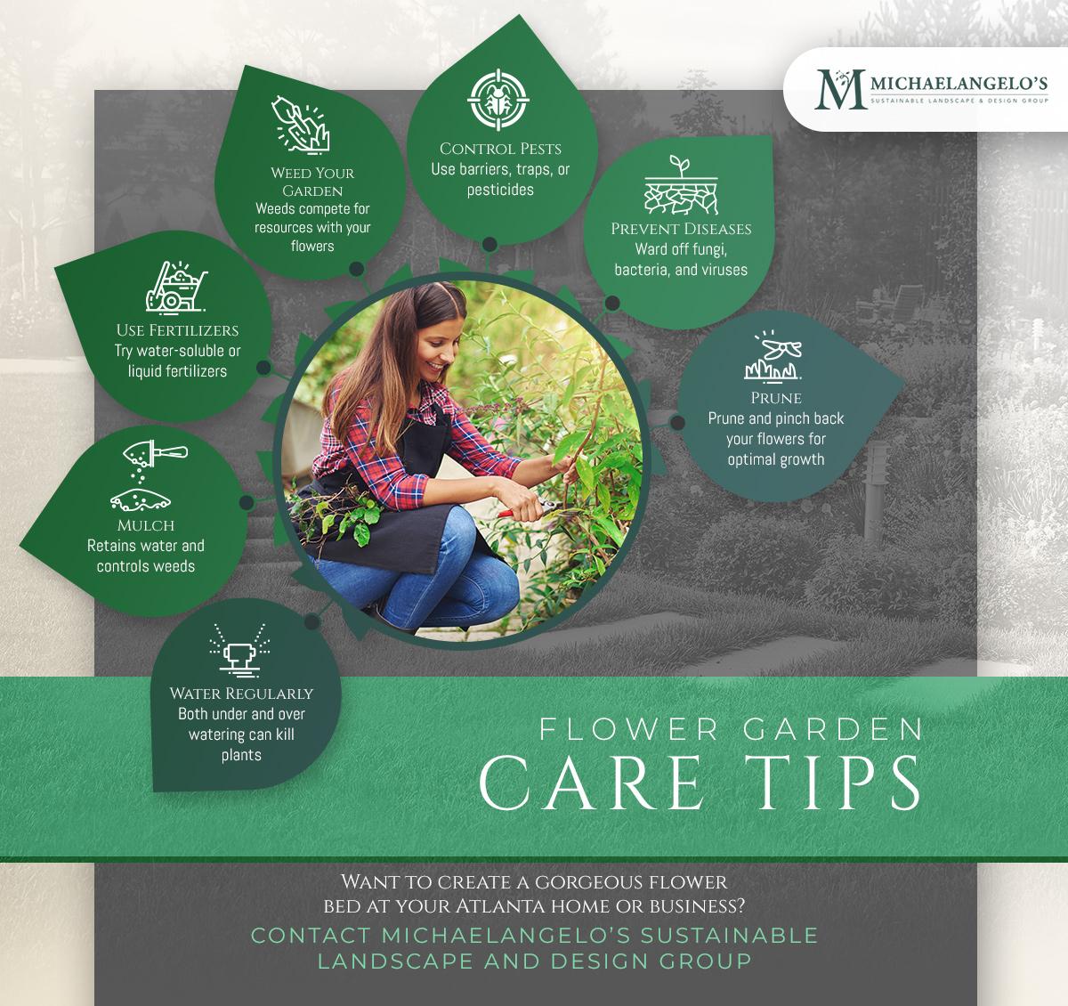 flower garden care tips infographic