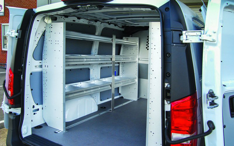 Van shelving installed by the LINE-X of Indianapolis team