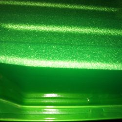 Close view of LINE-X of Indianapolis' green spray-in bed liner