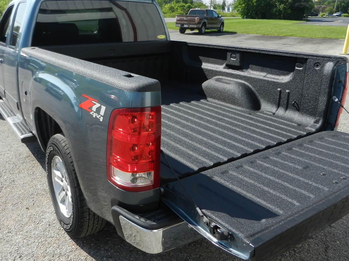 Truck bed with the LINE-X bed lining applied.