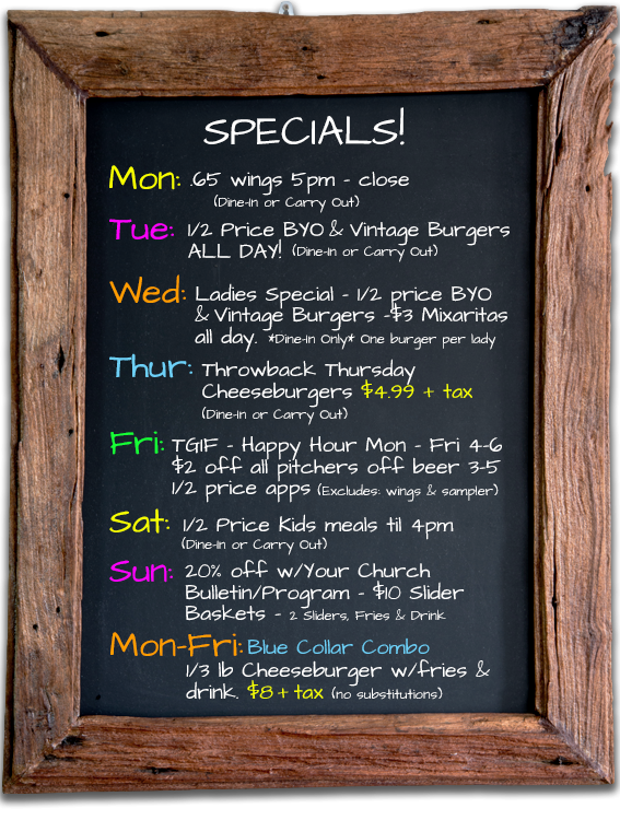 Image of our weekly specials
