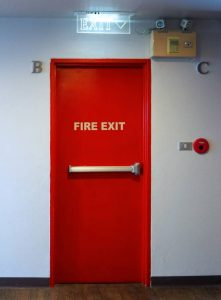 image of a fire exit door and alarm systems
