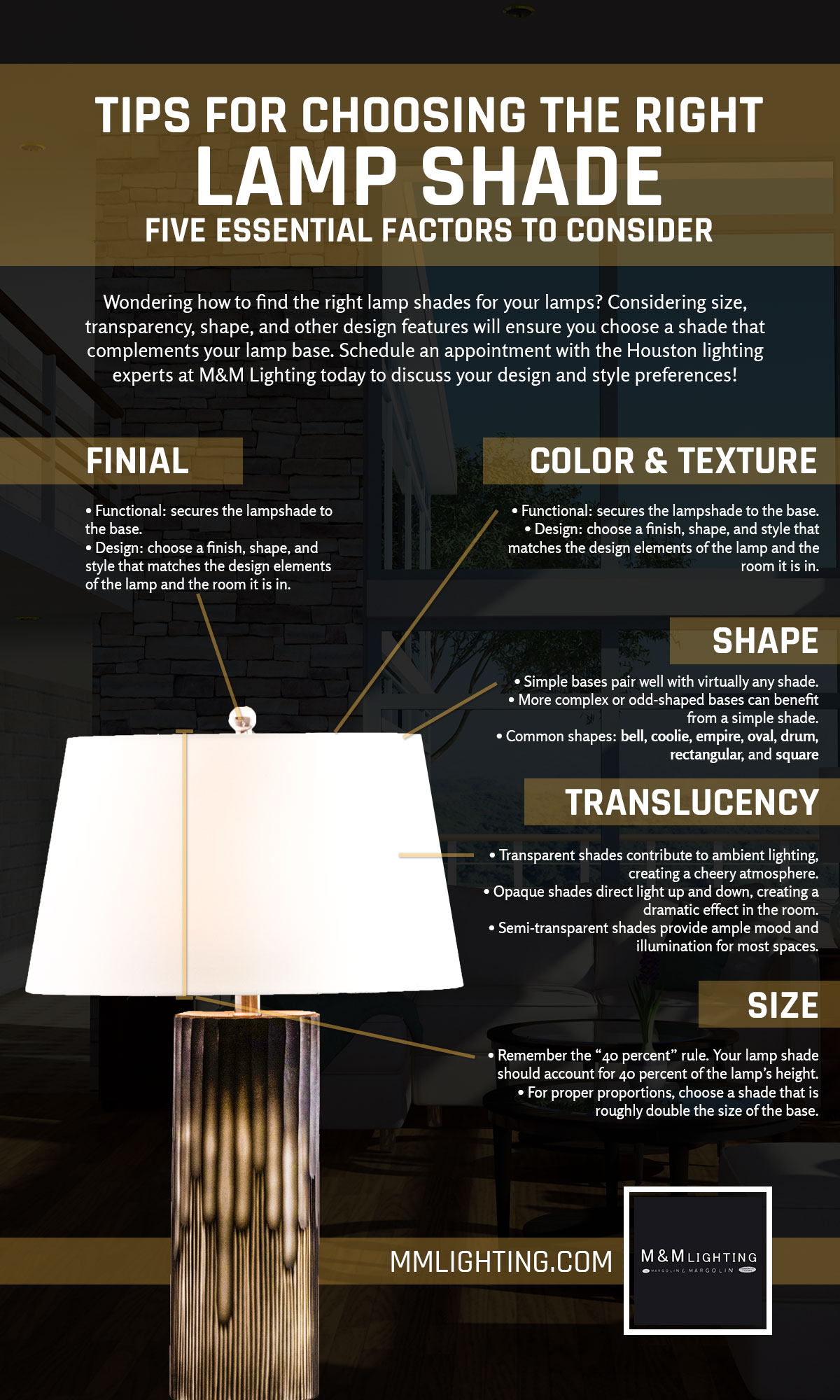 Lamp shades houston tips for choosing the right shade lamp shade design considerations aloadofball Images