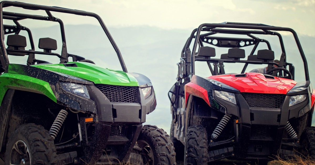Green and Red UTVs