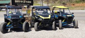 Yellow and Blue UTVs