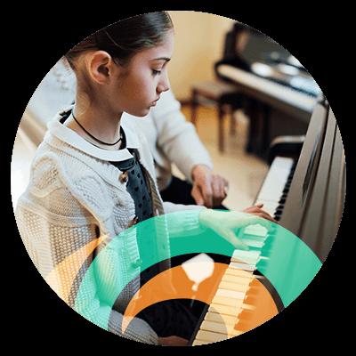 Piano Lessons Circle Icon
