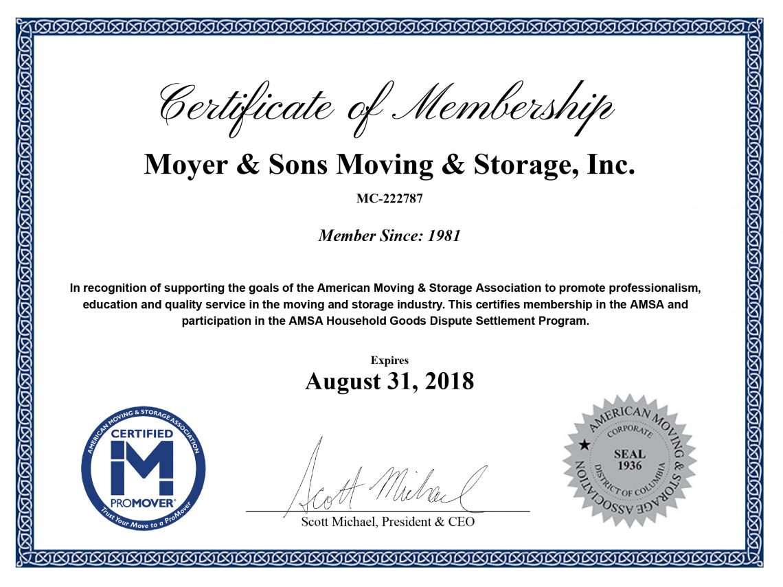 Certifications Moyer Sons Moving Storage Inc