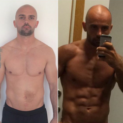 A before and after shot after working with Mr. Rodgers personal trainers.