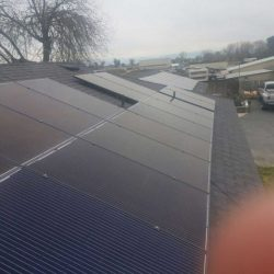 Large set of solar panels of a residential roof