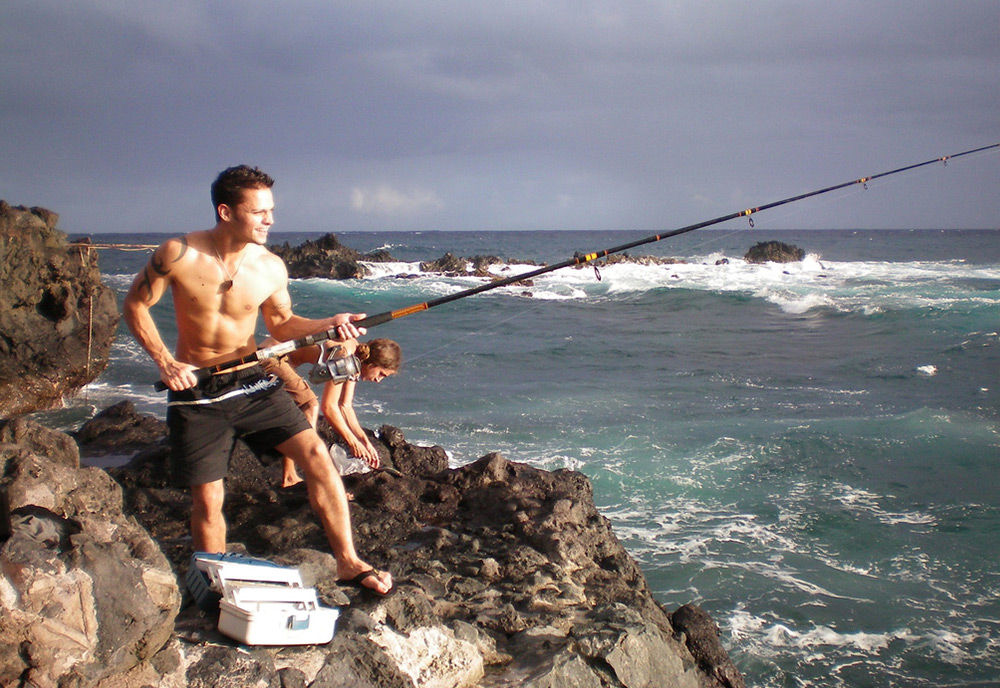 Nate fishes for dinner in Hawaii