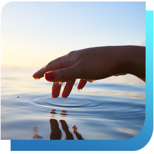 A hand on the surface of the water.