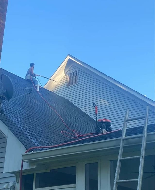 Professional roof cleaner on roof