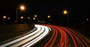 Time lapse image of night-time driving
