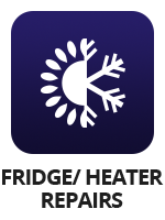 "An icon of a sun and a snowflake with the term ""fridge/heater repairs"""