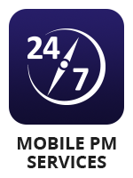 "A 24/7 timer icon with the term ""mobile PM services"""