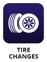 "A vector icon with a set of truck tires and the term ""tire changes"""