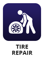 "An icon of a person dealing with a flat tire with the term ""tire repair"""