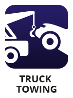 "An icon of a truck towing a car with the term ""truck towing"""