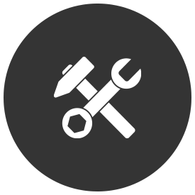 An icon of a hammer and wrench crossed together.