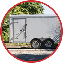 A trailer with a door on the side.