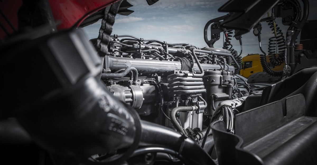 An image of the interior of a semi truck engine.
