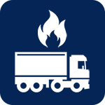 A vector icon of a semi-truck keeping warm