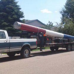 Flag pole equipment on a truck - ND Flag Pole Guy