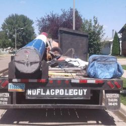 ND Flag Pole Guy truck with installation equipment