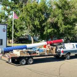 ND Flag Pole Guy truck after a commercial flag pole intallation