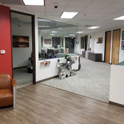 Commercial office hallway after remodeling service
