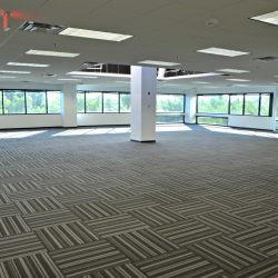 Open floor plan after commercial renovation