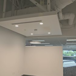 New overhead office lights after renovation