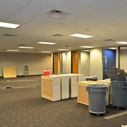 General contractors working on office layout