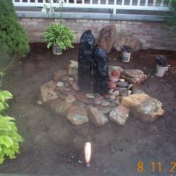Small round water feature with stones - New Horizon Landscaping