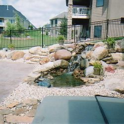 Back patio with water feature and landscaping - New Horizon Landscaping