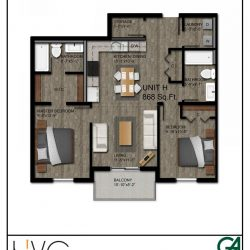 Heritage Heights Unit H 868 Sq. Ft. 2 BR 2 BA