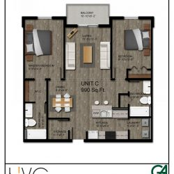 Heritage Heights Unit C 990 Sq. Ft. 2 BR 2 BA