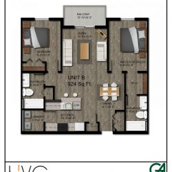 Heritage Heights Unit B 924 Sq. Ft. 2 BR 2 BA